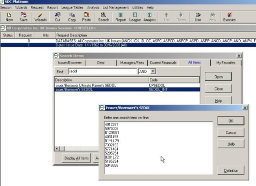 Financial Databases and Research - Uploading company lists