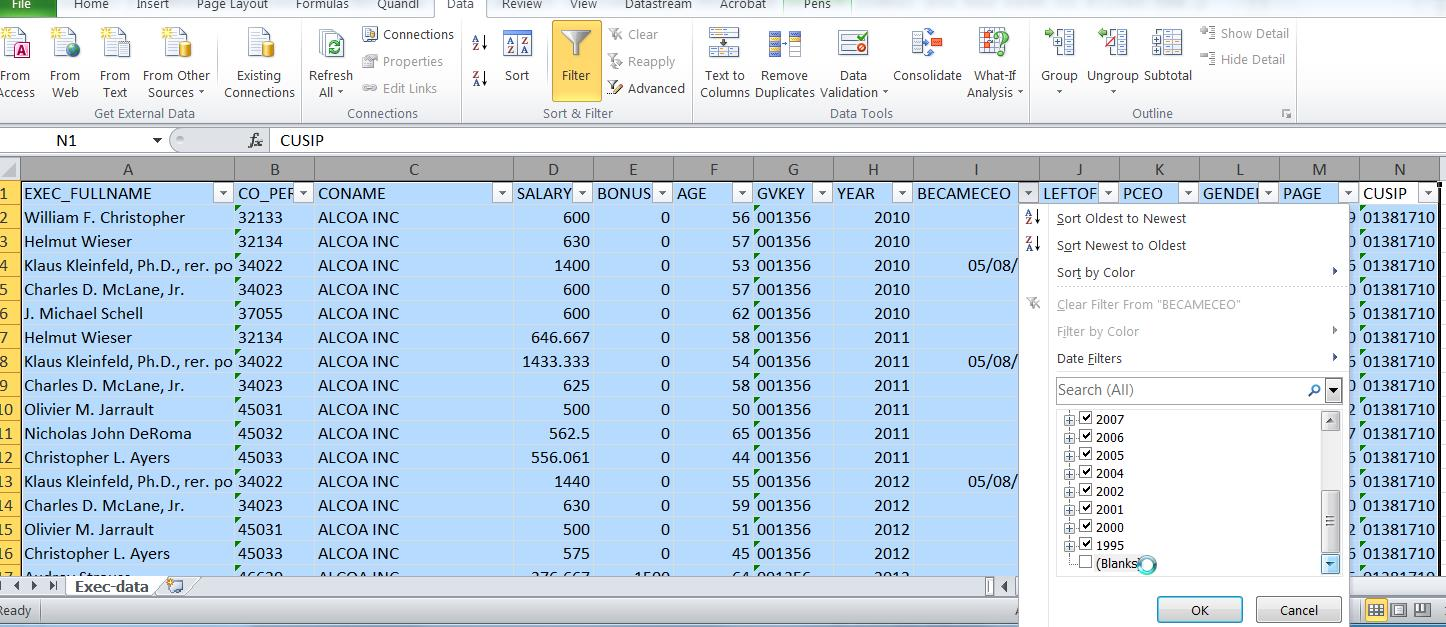 February 2015 researchfinancial even when you have limited the download in excel to just ceos it still is important to check the data using the execucomp variables for date became ceo buycottarizona